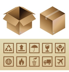 cardboard delivery box and package icons vector image