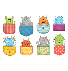 cartoon pocket monster funny monsters in pockets vector image