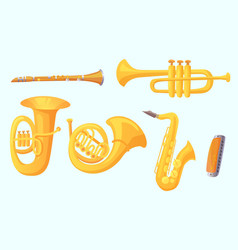 Cartoon trumpet winds musical instruments music vector