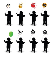 child play with balloon in colorful vector image