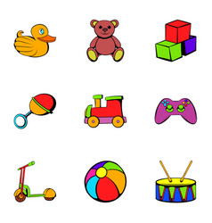 Children time icons set cartoon style vector