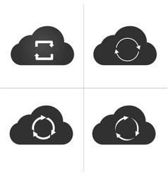 cloud sync icon set circle arrows isolated on vector image