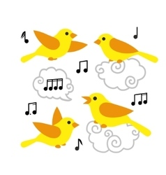 Collection of cute cartoon birds and notes in the vector