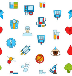 colored diabetes icons pattern vector image