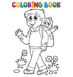 Coloring book father with child 1 vector
