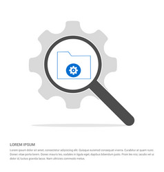 computer folder icon search glass with gear vector image