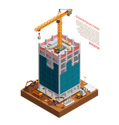 construction equipment isometric composition vector image
