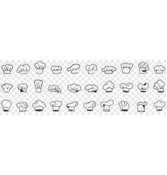 cooks cap headdress doodle set vector image