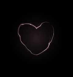 Crack in black wall in heart shape love power vector