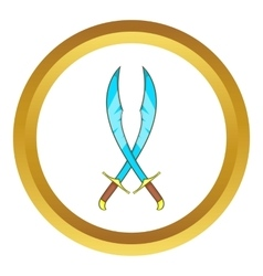 Crossed scimitars icon vector