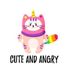 Cute cartoon doodle cat vector