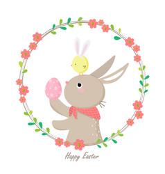 Cute rabbit holding colorful easter egg vector