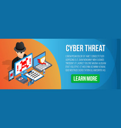 cyber threat concept banner isometric style vector image
