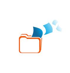 design logo folder with symbol law or court vector image