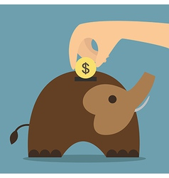 Elephant bank saving money vector image vector image