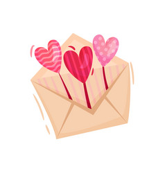 envelope with small balloons in shape of hearts vector image