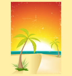 Exotic beach grunge postcard vector