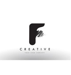 F brushed letter logo black brush letters design vector