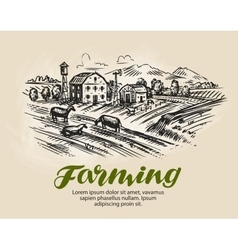 Farm sketch Agriculture farming vector image