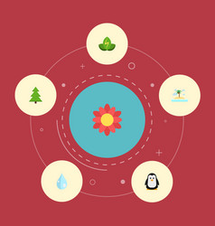 Flat icons tree eco energy water and other vector