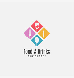 food and drinks logo wine glass with fork knife vector image