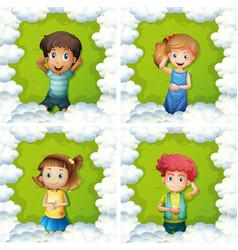 Four kids on green grass vector