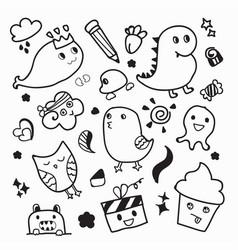 Funny animal doodle design vector