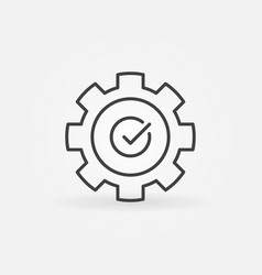 Gear with check mark icon in thin line vector
