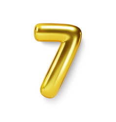 golden number balloon 7 seven realistic 3d vector image