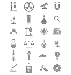 Gray science icons set vector