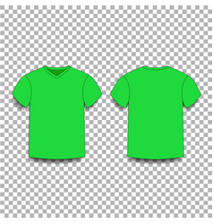 Green men s t-shirt template v-neck front and vector