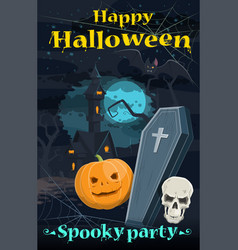 halloween greeting card of holiday night horror vector image vector image