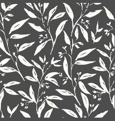 hand drawn brush plant seamless pattern vector image