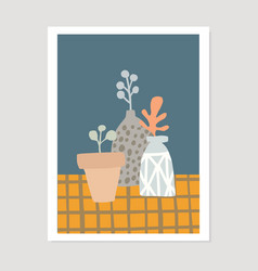 hand drawn flower pots and vases checkered vector image