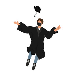 Happy graduate student in medical mask and vector