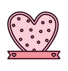 happy valentines day cute heart love ribbon vector image