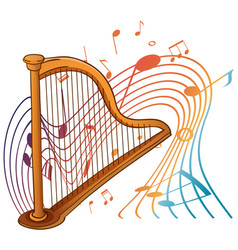 harp musical instrument with melody symbols vector image