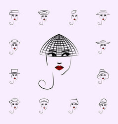 hat veil girl icon hat girl icons universal set vector image