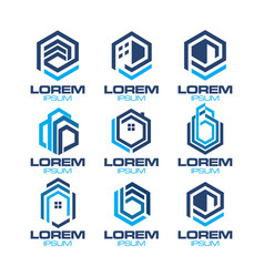 Hexagonal real estate logo vector