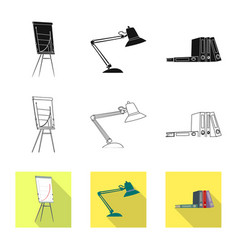 Isolated object of furniture and work logo set of vector