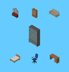 Isometric furnishing set of drawer cabinet table vector