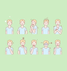Kids emotions and facial expressions set vector