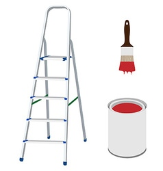 Laddder brush and bucket vector image