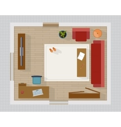 Living room with furniture top view vector
