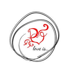 Logo with heart Letter D vector
