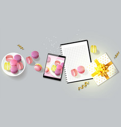 macaroons gift realistic tablet and vector image