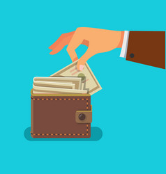 man hand taking out money bill from a wallet vector image