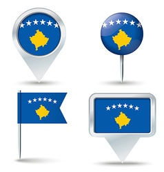 Map pins with flag of Kosovo vector