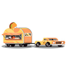 mexican food truck on road vector image