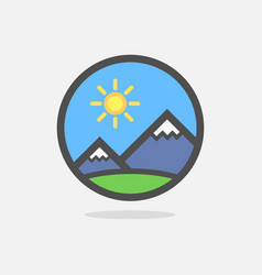 mountains of swiss alps on colorful round emblem vector image